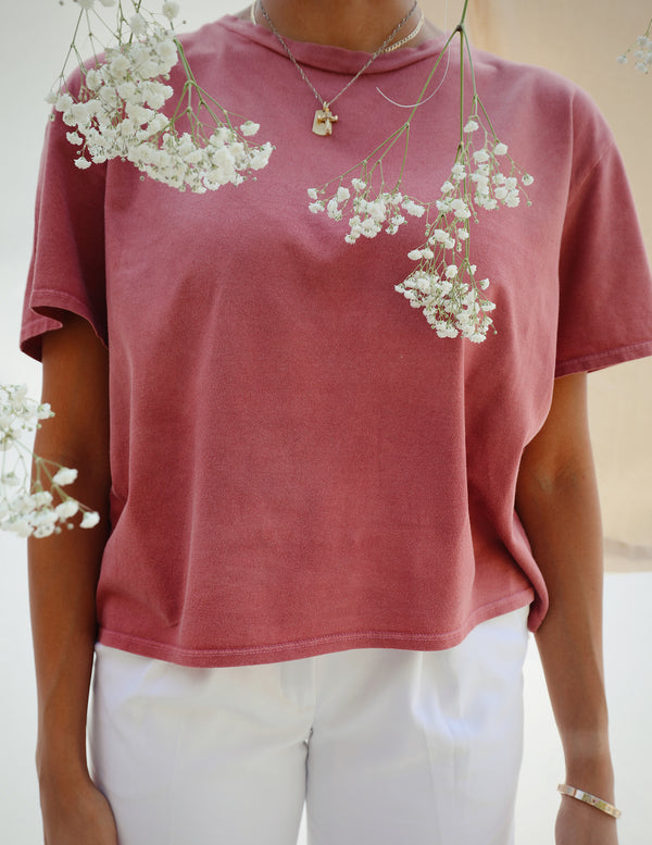 ,Organic cotton Lola Box tee in Rose - All For Ramon