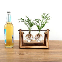 Load image into Gallery viewer, Terrarium with Wooden Stand