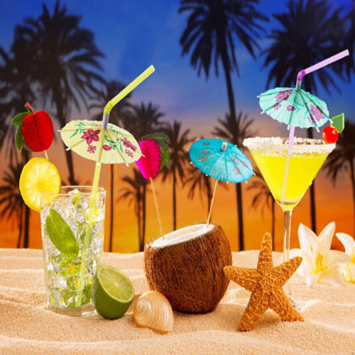 Tropical Umbrella Cocktail Straws (50/100 PACK)
