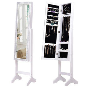 Jewelry Armoire Cabinet with Diamond Mirror