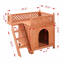 Load image into Gallery viewer, Wooden Dog House with Balcony