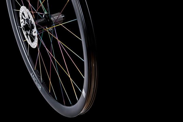 35 CARBON GRAVEL DISC X-WIDE TI-NITRIDE OIL-SLICK SPOKES LIMITED EDITION WHEELSET, 700c