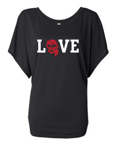 LOVE PIRATES WOMENS FLOWY DRAPED TEE