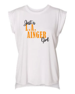 L.A. Ainger Women's Flowy Muscle Tee with Rolled Cuffs