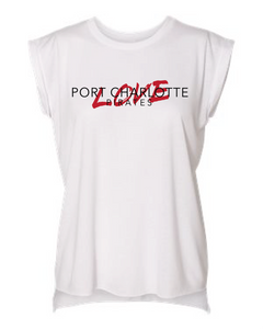 WHITE WOMENS LOVE PORT CHARLOTTE ROLLED SLEEVE SHIRT