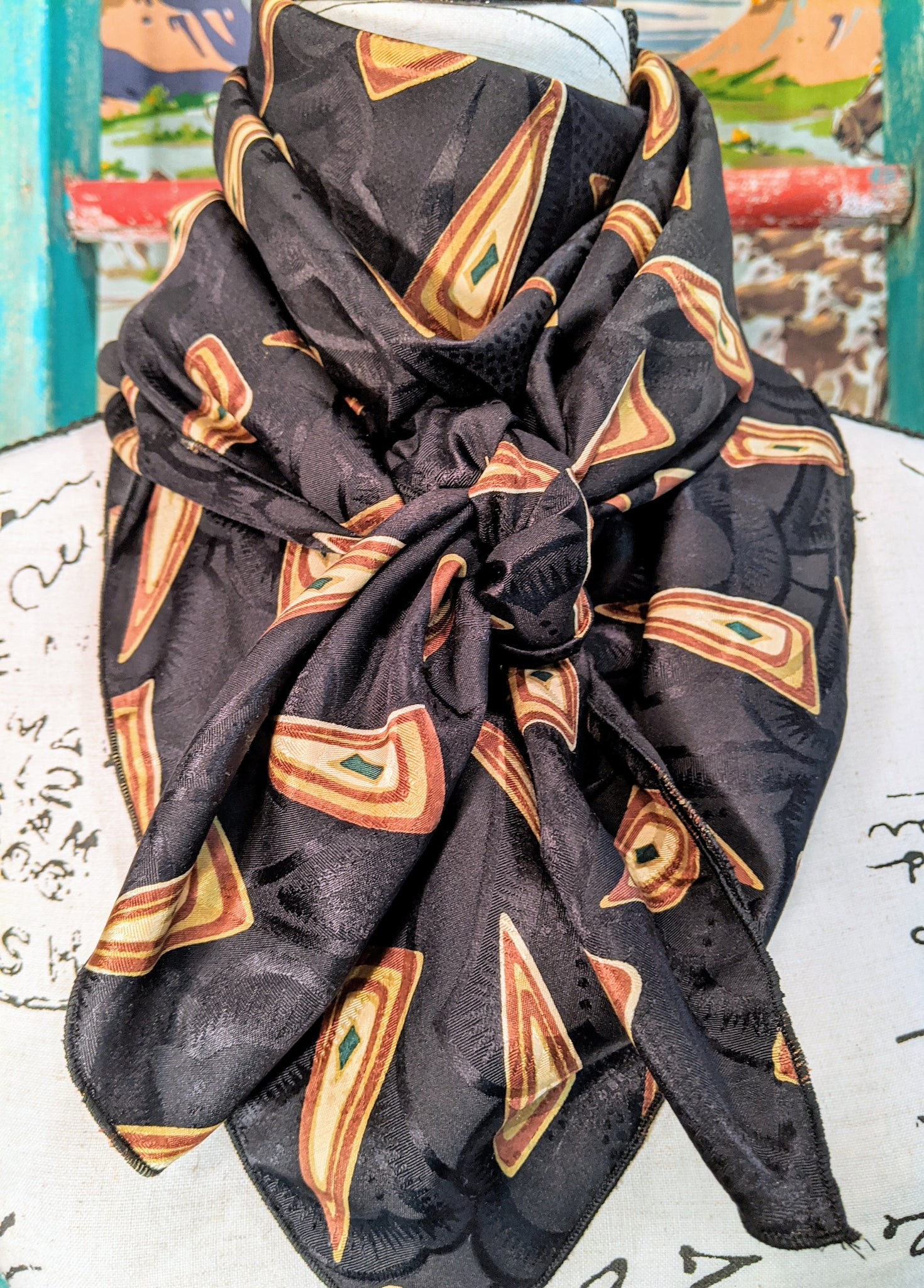 Black and Tan Silk Wild Rag