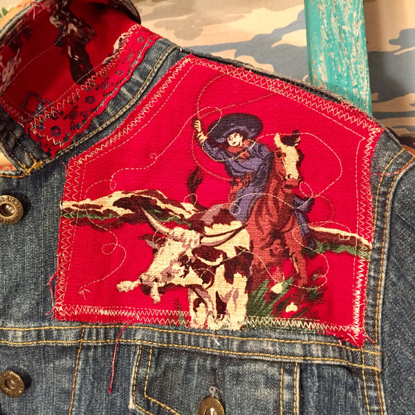 Roundup Cowgirl Red Bark Cloth