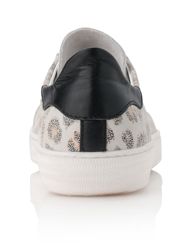 Indiana - White Leopard Print Suede
