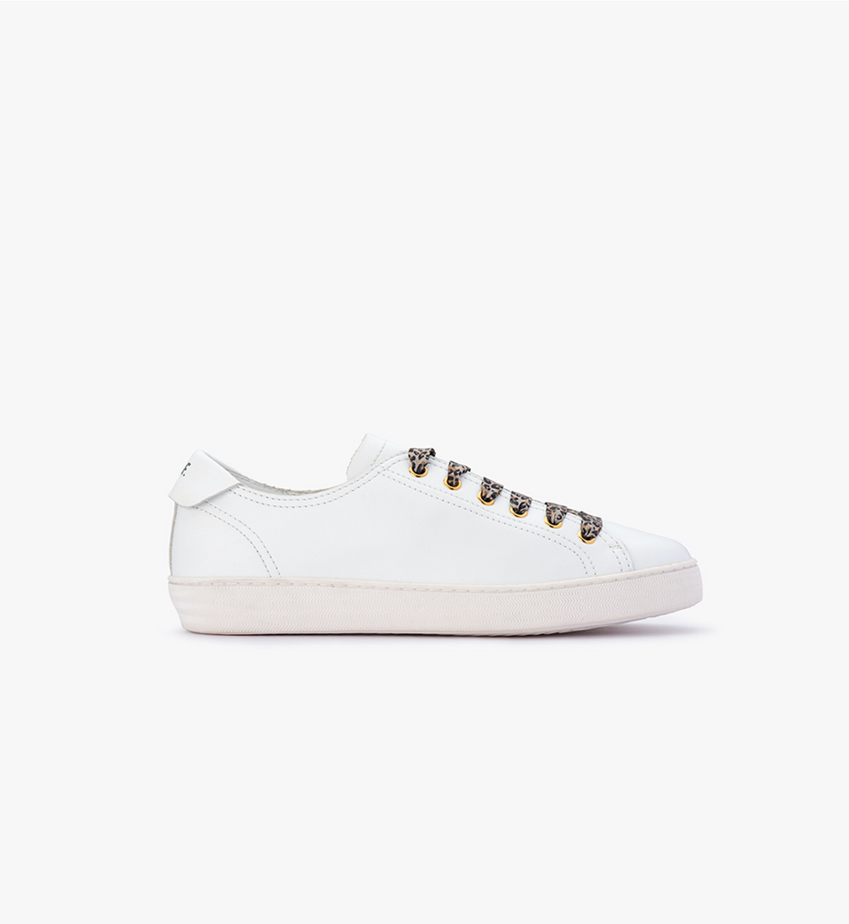 Izzy - White with Leopard Laces