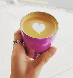 8oz Stainless Steel Reusable Cup NZ latte heart