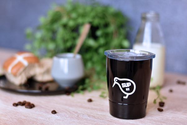 8oz stainless steel reusable cup black