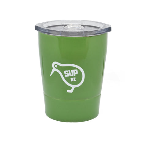 8oz stainless steel reusable cup fern green