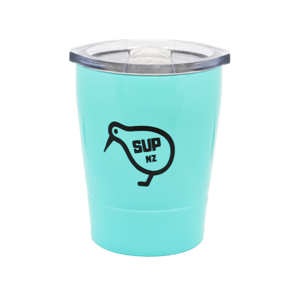 8oz stainless steel reusable cup turquoise