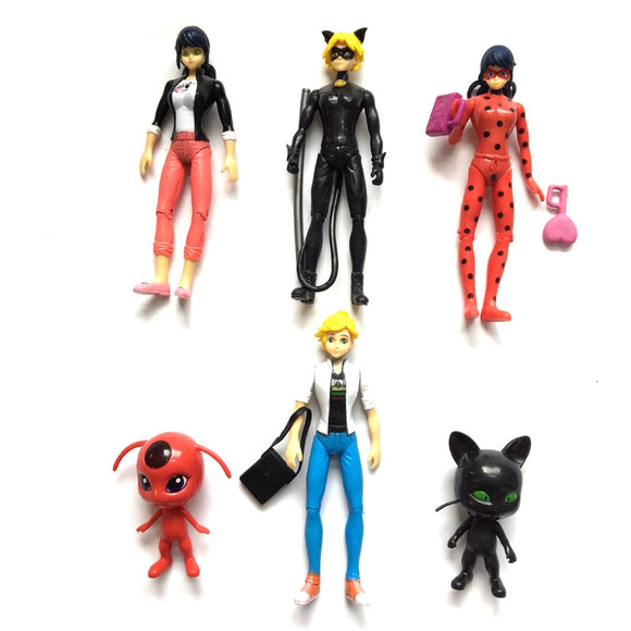 a776e8b659b 6pcs Lot 15cm Movable Joints Christmas Ladybug Japan Anime Action Figures  Cute Ladybug LED Light