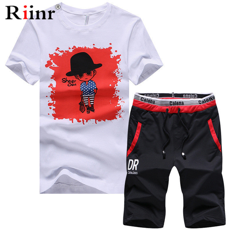 907e28345893 Summer Short Sets Men Casual Suits Sportswear Tracksuit Stand Collar Male  Outwear Sweatshirts Hoodies Patchwork T ...