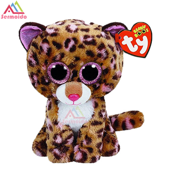e62a98c9445 sermoido TY Beanie Boos Dotty Leopard 6inch Big Eyes Beanie Baby Plush  Stuffed Doll Toy Collectible