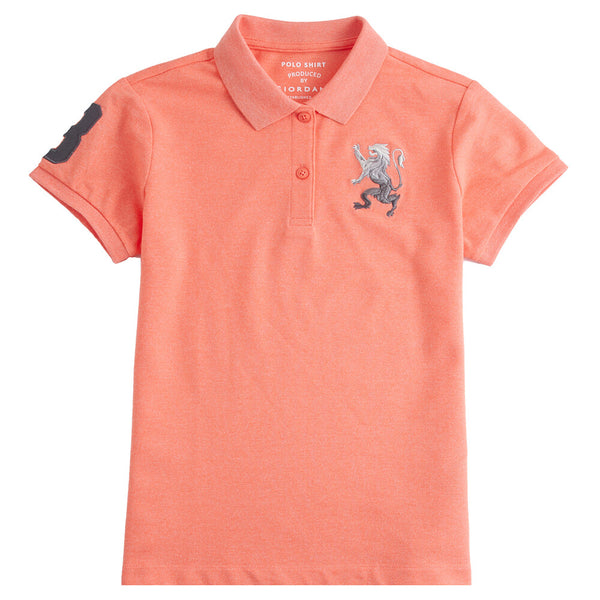 Giordano Women 3D Lion Polo 79 Melange Peach Echo