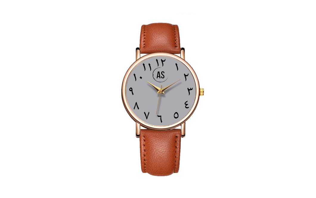 He Is With You, Arabic Watches, Arabic Numeral Watch, Brown Watches, Laser Engrave Watches, Islamic Jewelry, Luxury Wathces