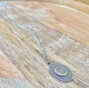 accessari, silver necklace, muslim jewelry, moon pendant, crescent moon necklace, crescent moon, crescent pendant, silver necklaces