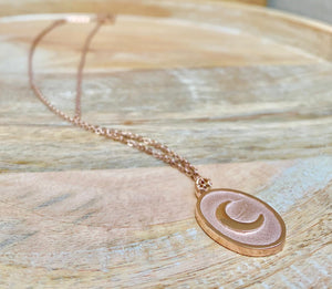 accessari, rose gold necklace, muslim jewelry, moon pendant, crescent moon necklace, crescent moon, crescent pendant, rose gold necklace