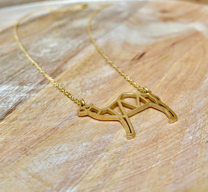 Origami camel necklace, accessari, muslim jewelry, camel necklace,  gold necklace, gold camel, origami camel necklace