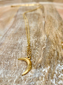 Gold necklace, accessari, Muslim jewelry, 18k necklace, crescent moon necklace, moon pendant