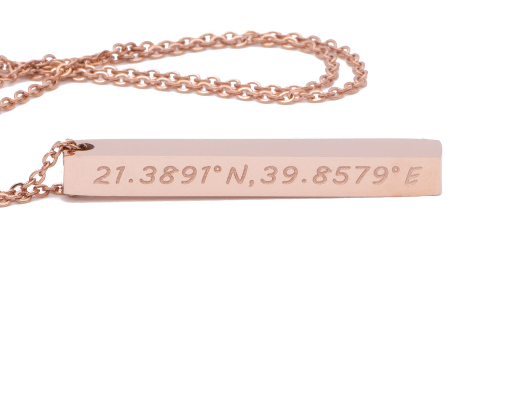 Mecca Necklace, Rose Gold Necklace, Islamic Jewelry, Muslim Jewelry, Kabah Pendant, Rose Gold Chain, Praise to God, Mecca Coordinates Necklace, Accessari