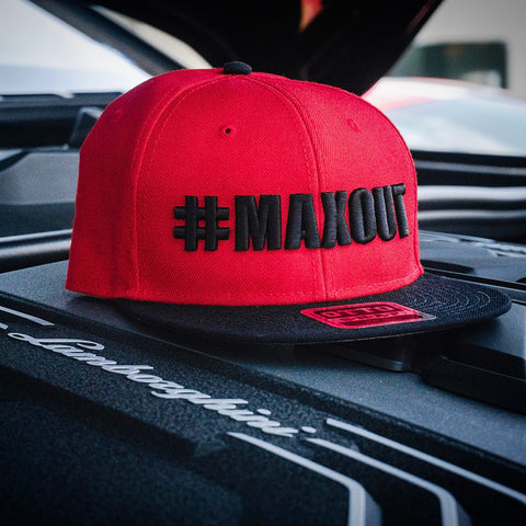 #MAXOUT Flatbill Black on Red