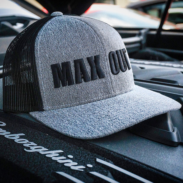 MAX OUT trucker hat Black on Heather Gray