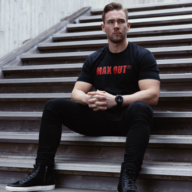 MAX OUT Red On Black Tee (Men's)