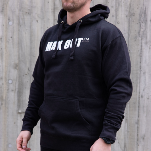 MAX OUT White 3D/Puff Ink On Black Hoodie (Unisex)