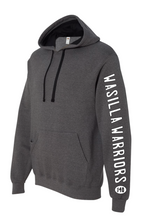 Load image into Gallery viewer, ADD ON TEAM NAME OR YOUR NAME AND WRESTLING WEIGHT ON LEFT SLEEVE TO ANY HOODIE