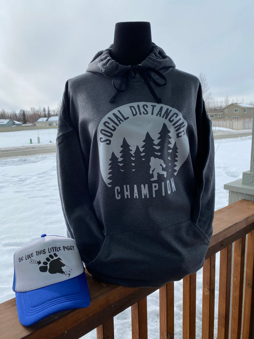 SOCIAL DISTANCING CHAMPION CHARCOAL HOODIE