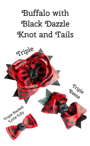 Red & Black Buffalo Plaid with Black Dazzle K&T