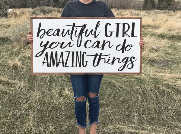 Beautiful Girl Wood Sign