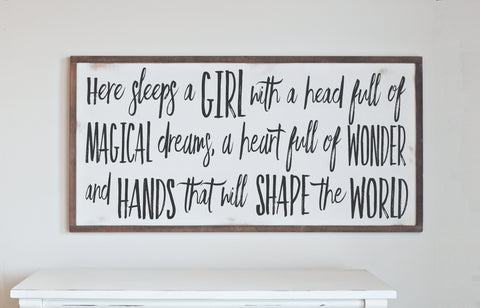 Girl With Magical Dreams Wood Sign