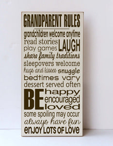 Grandparent Rules Wood Sign - You Choose Grandparent Names
