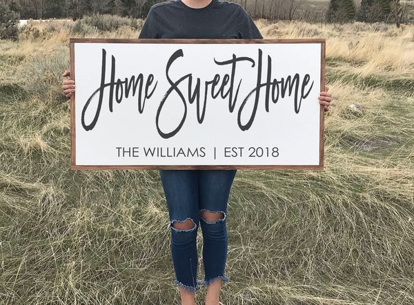 Home Sweet Home Wood Sign Personalized