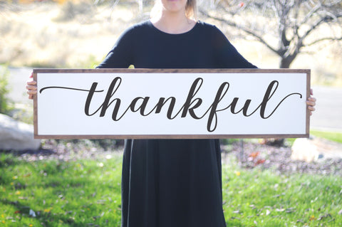 Thankful Wood Framed Sign