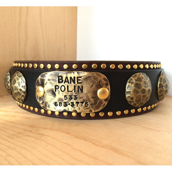 Hammered Nameplate, Accessories & Nameplates, Karma Collars, Karma Collars: Custom Leather Dog Collars