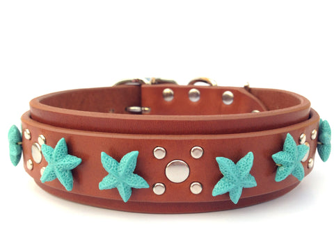Beach Pup Leather Dog Collar - Karma Collars: Custom Leather Dog Collars