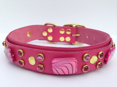 Pretty in Pink, Collars, Karma Collars: Custom Leather Dog Collars, Karma Collars: Custom Leather Dog Collars