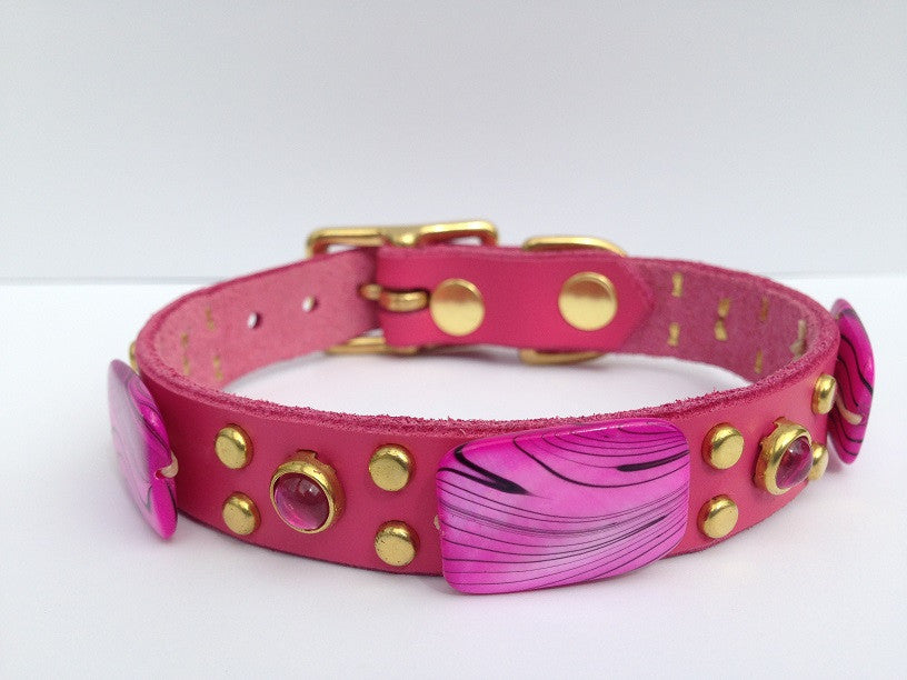 Pretty in Pink Small, Collars, Karma Collars: Custom Leather Dog Collars, Karma Collars: Custom Leather Dog Collars