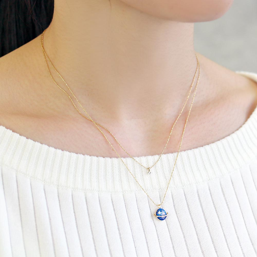 Small Planet Charm Double Chain Necklace