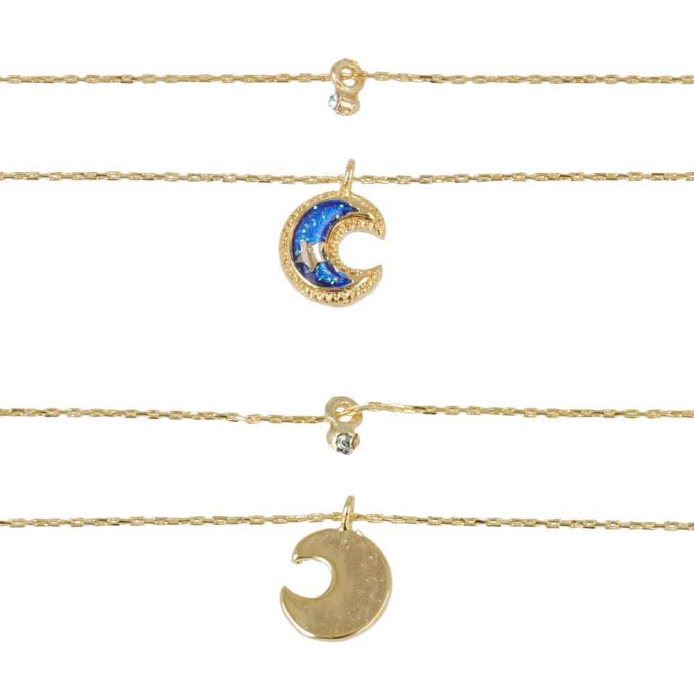 Small Moon Charm Double Chain Necklace - Osewaya