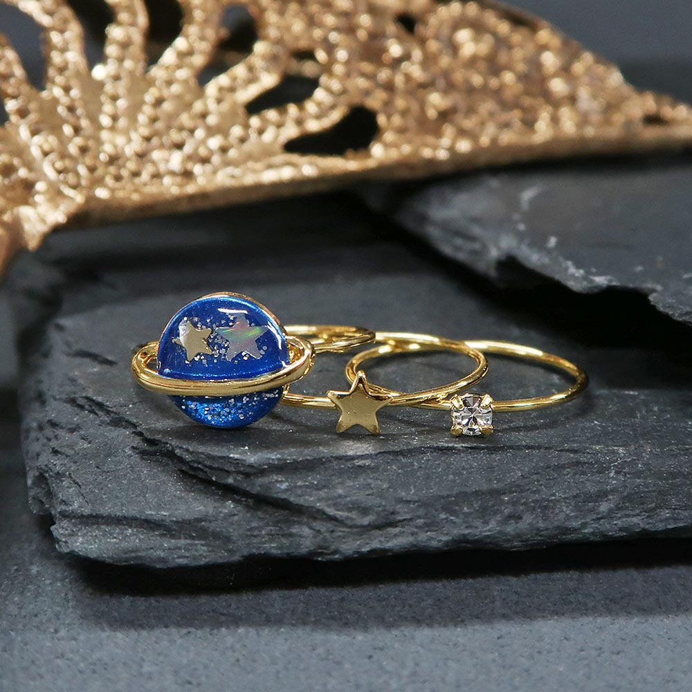 Blue Saturn Ring Set