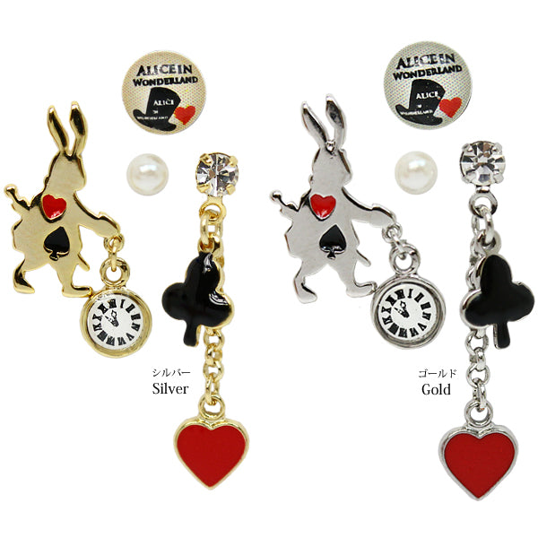 Clock Rabbit Alice In Wonderland Earrings Set - Osewaya