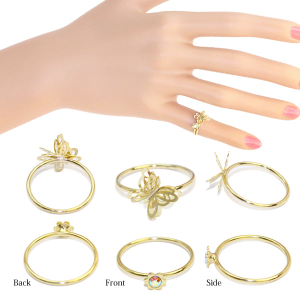 Openwork Butterfly Ring Set