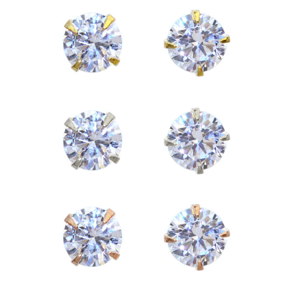 5mm Cubic Zirconia One Stone Invisible Clip On Earrings - Osewaya