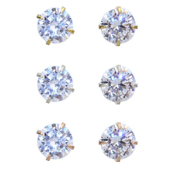 6mm Cubic Zirconia One Stone Invisible Clip On Earrings - Osewaya